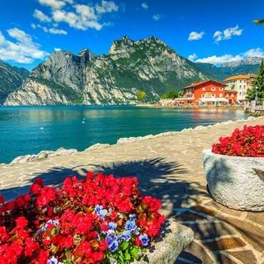 Mountains and walkway on the shore, Lake Garda